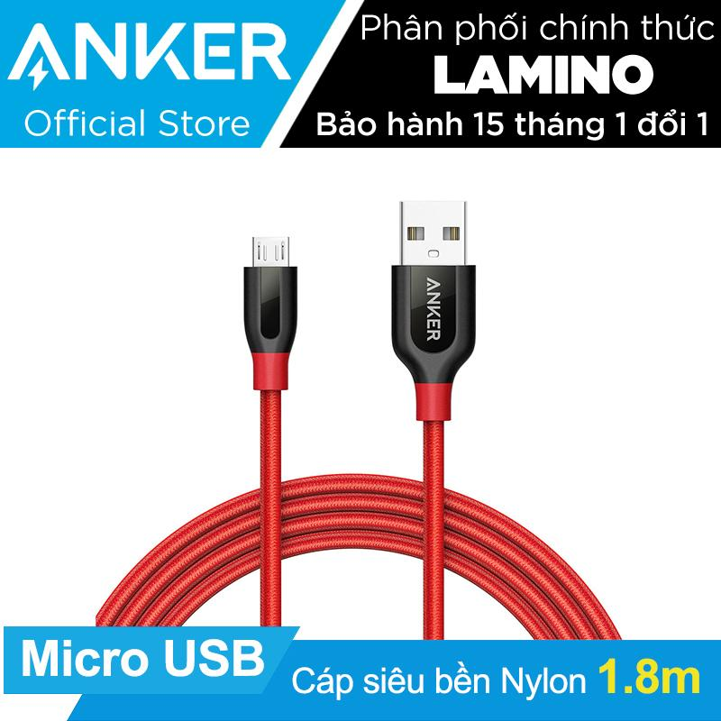 Bán Cap Sieu Bền Nylon Anker Powerline Micro Usb Dai 1 8M Đỏ Co Bao Da Hang Phan Phối Chinh Thức Trực Tuyến