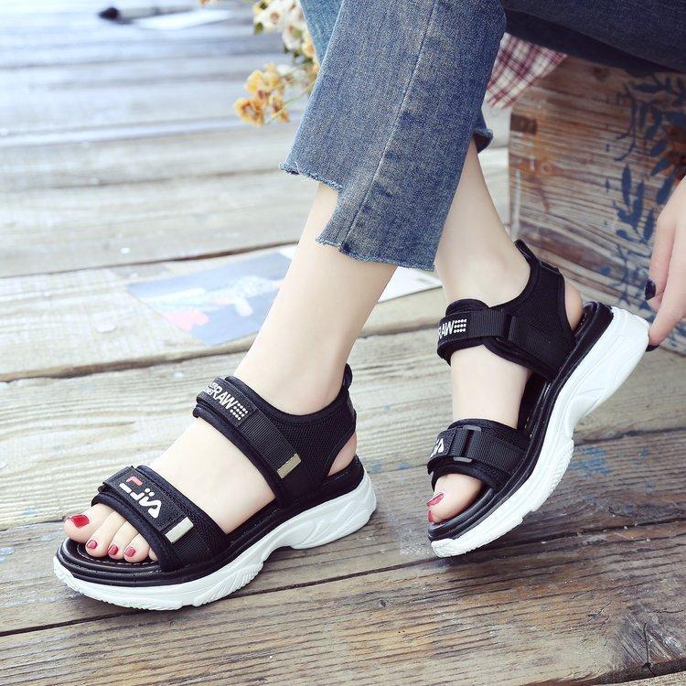 Thick Bottomed Sandals Female Velcro 2019 Summer New Style Versatile Open Toe Extra High Rocking Shoes Large Size Anti-Slip Platform Heel By Taobao Collection.
