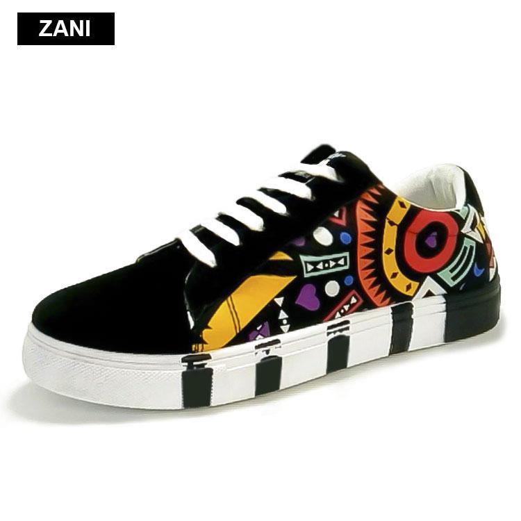Giay Sneaker Thời Trang Nam In Họa Tiết Zani Zn5662D Đen Nguyên