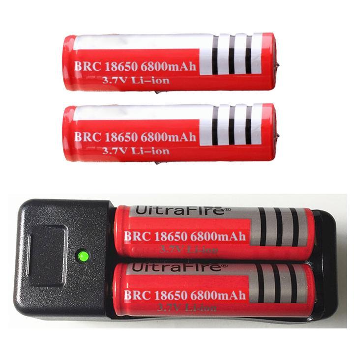 Hình ảnh Bộ sạc đôi và 2 pin 3.7v 6800mAh dùng cho đèn pin quạt mini