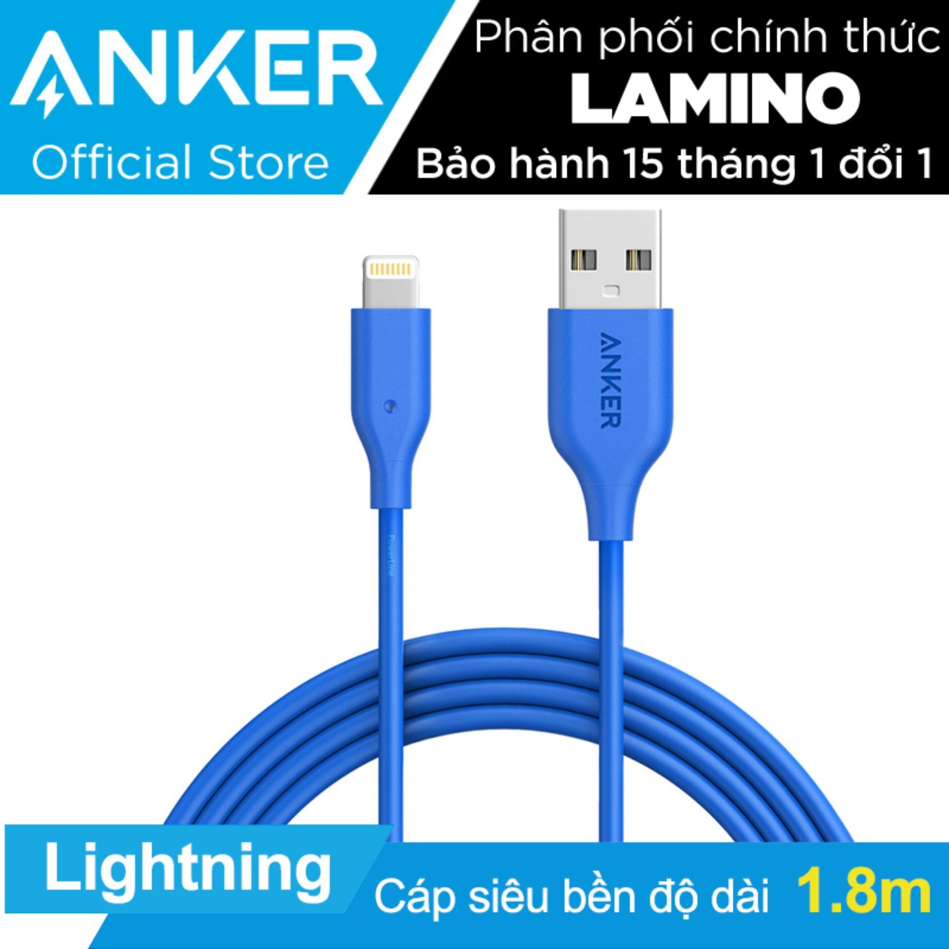 Bán Cap Sạc Sieu Bền Anker Powerline Lightning 1 8M Cho Iphone Ipad Ipod Xanh Dương Hang Phan Phối Chinh Thức Anker Nguyên