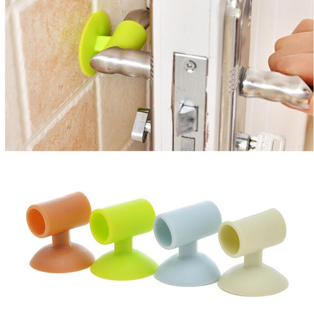 Hình ảnh 2PCS Door Handle Knob Crash Pad Wall Protectors Self Adhesive Bumper Guard Door Stopper Anti Collision Stops Stick Silicone(Color:Random) - intl