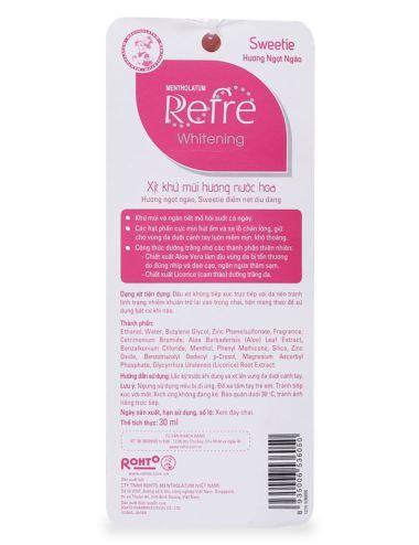 Xịt khử mùi hương nước hoa Refre Whiterning Sweetie (Hương ngọt ngào) 30ml