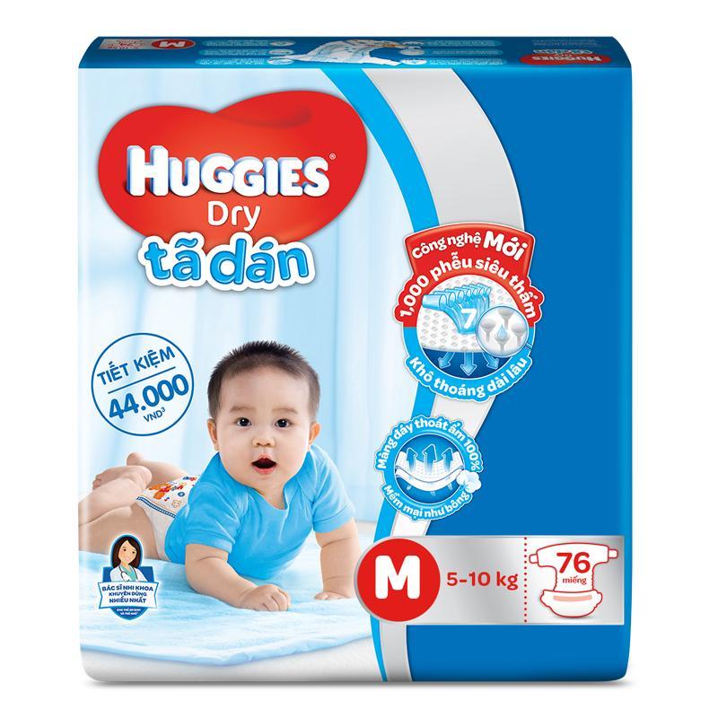 Combo 3 gói Tã dán Huggies size M76 (cho bé từ 5-10kg)