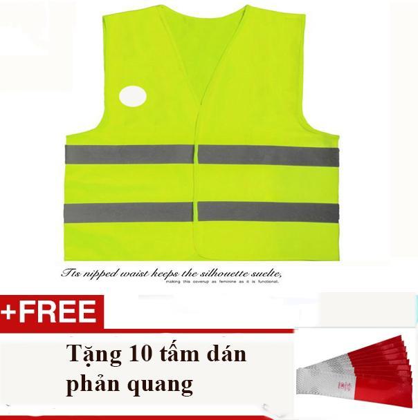 Hình ảnh Áo phản quang, áo bảo hộ ban đêm phổ biến nhất thị trường + Tặng 10 tấm dán phản quang