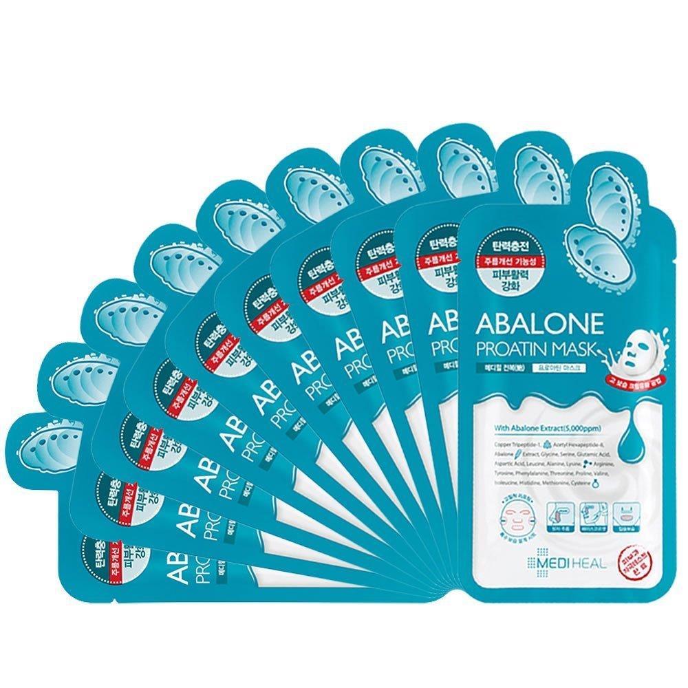 Ôn Tập Hộp 10 Mặt Nạ Bao Ngư Giup Da Trẻ Căng Tran Sức Sống Mediheal Abalone Proatin Mask 27Ml X10