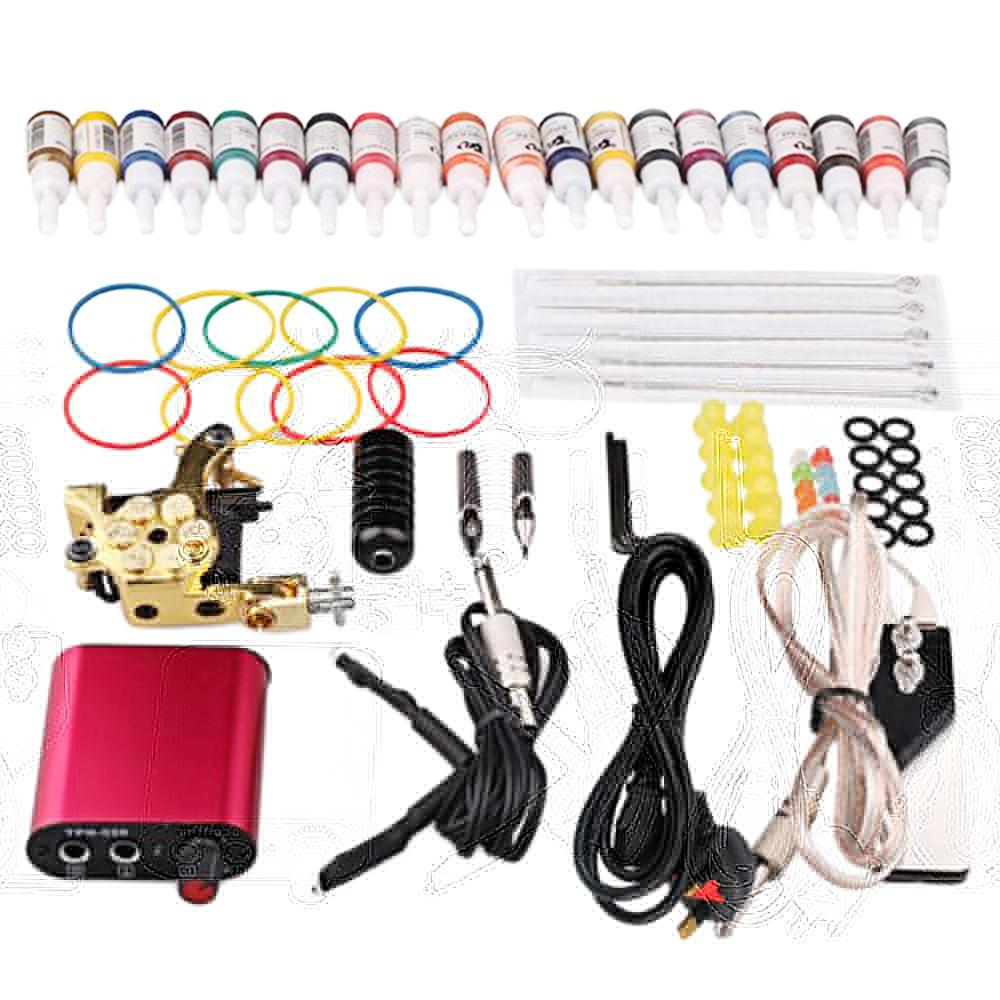 Hình ảnh Complete Professional Tattoo Tools Accessories Kit Including Tattoo Machine Needles Pigment Inks Mini Tattoo Power Supply US Plug - intl