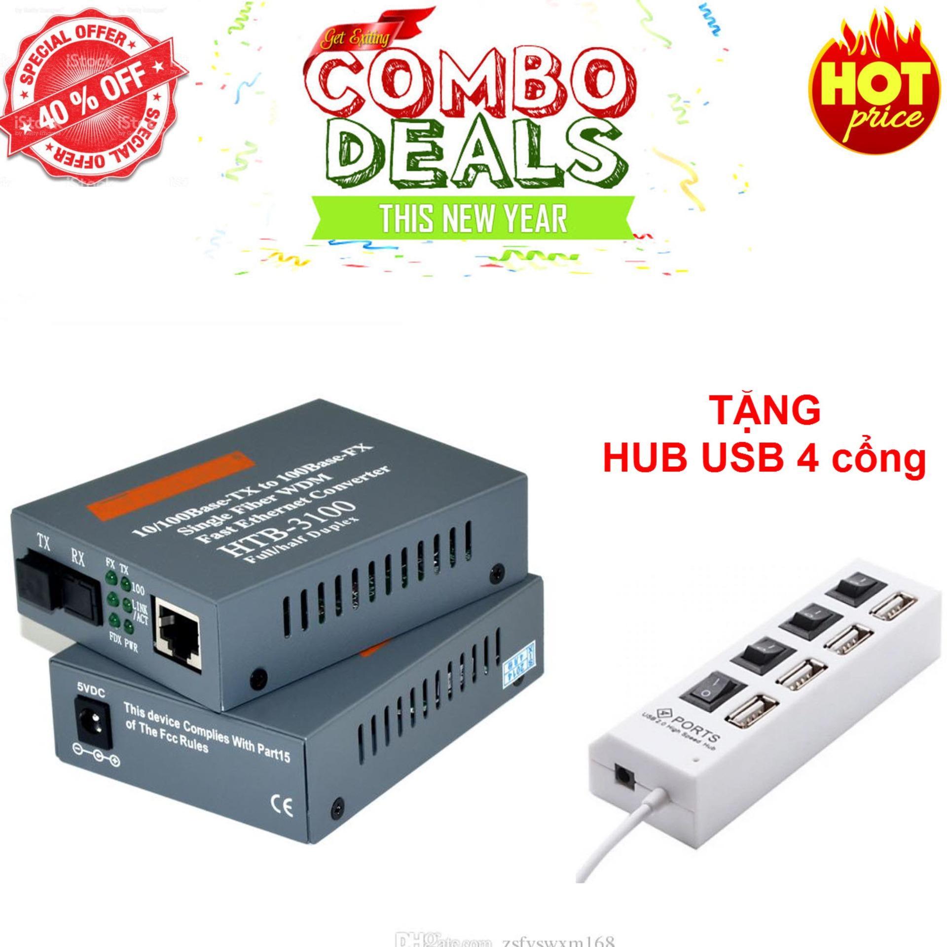 Hình ảnh convert quang single mode 10/100Mbs HTB-3100AB ( 1 cặp AB-xám)