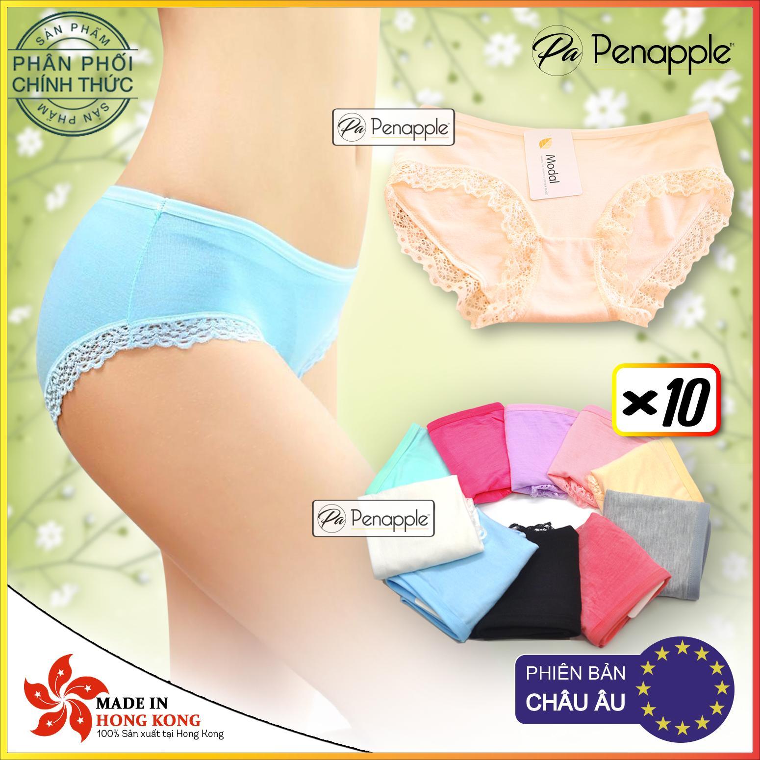 Ôn Tập Combo Set 10 Panties 1 Bộ 10 Quần Lot Nữ Cotton Viền Ren Cao Cấp Thấm Hut Mat Mịn Sản Xuất Tại Hồng Kong Hang Phan Phối Chinh Thức