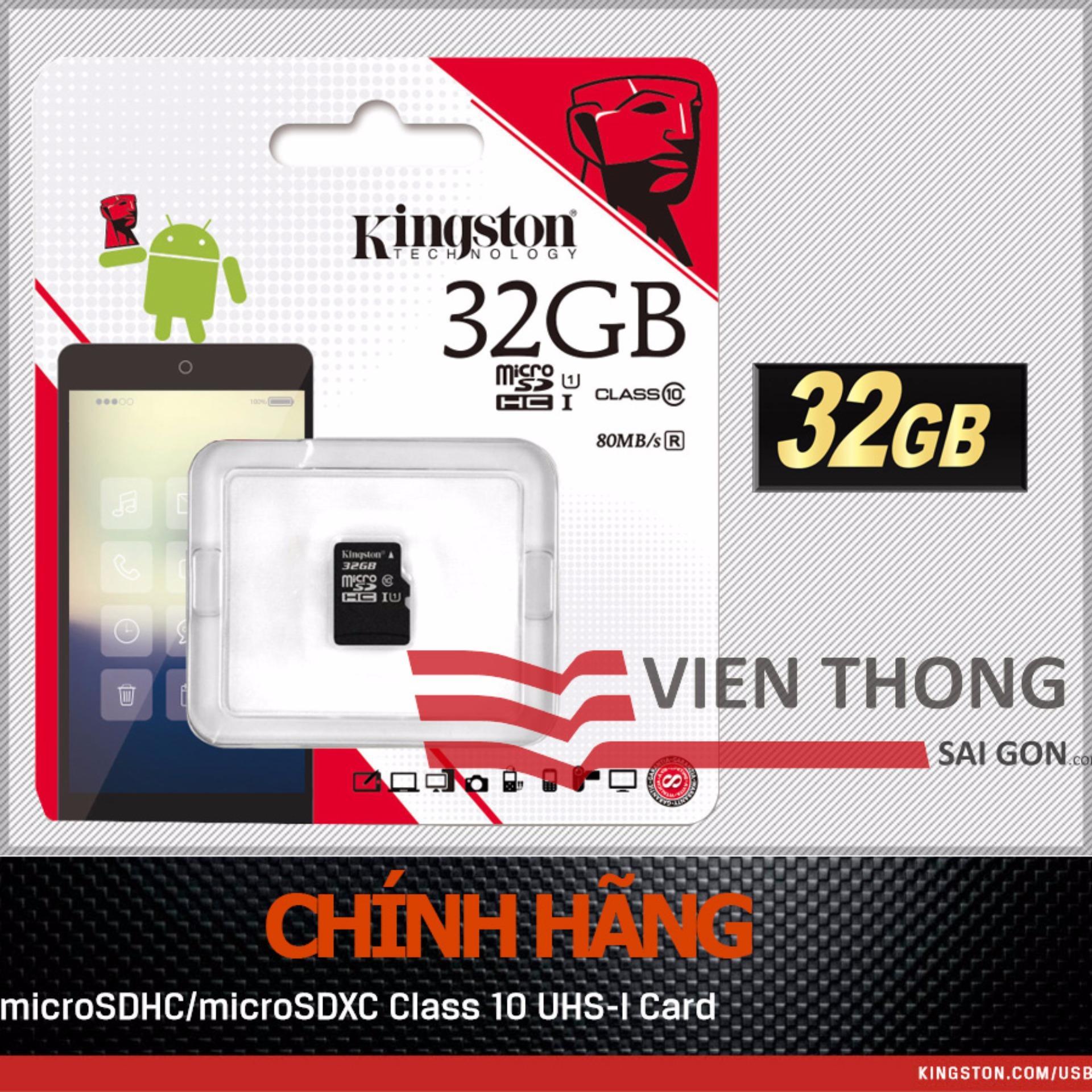 Giá Bán Thẻ Nhớ Kingston 32Gb Micro Sdhc C10 Uhs Đen Hang Phan Phối Chinh Thức Kingston Nguyên