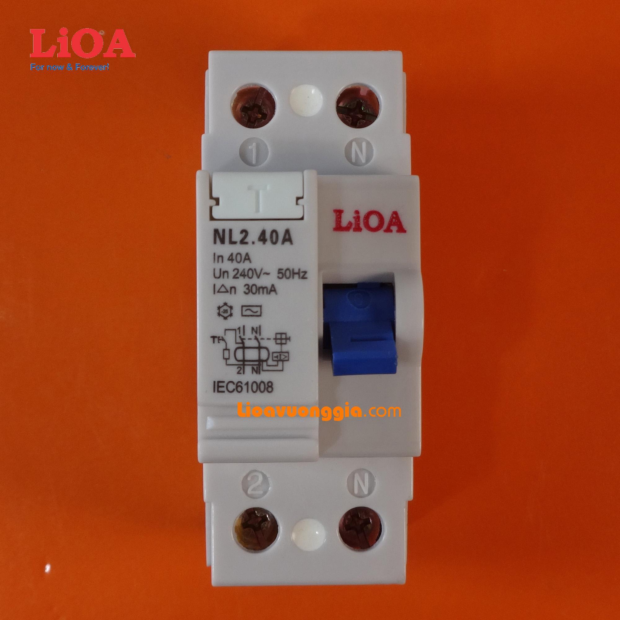 Cầu dao chống dòng rò (chống giật) LiOA loại 2 cực - Dòng điện định mức 40A - RCCB2040-30
