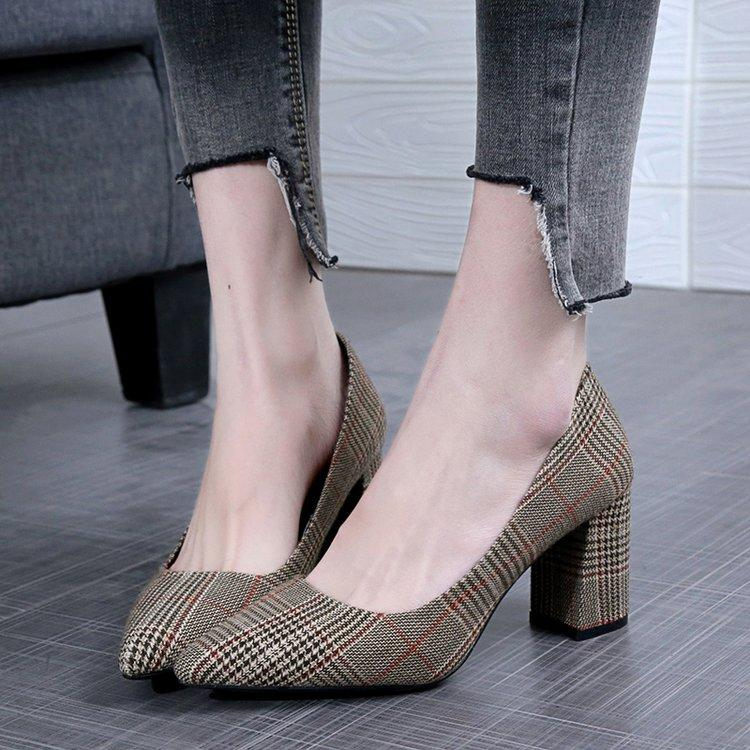 2019 Spring New Style Block Heel Female Black Work Shoes Europe And America Shallow Mouth Womens Shoes Ol Elegant Pointed High Heels Shoes By Taobao Collection.