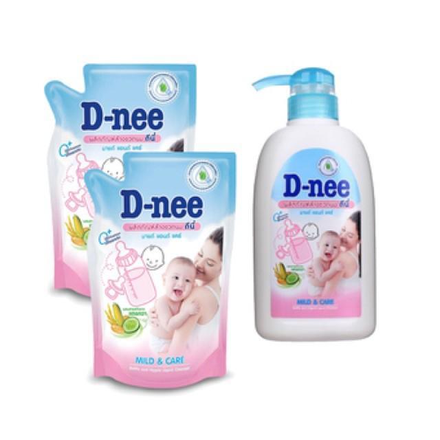 Combo 1 chai 500ml + 2 túi 600ml nước rửa bình sữa D-nee