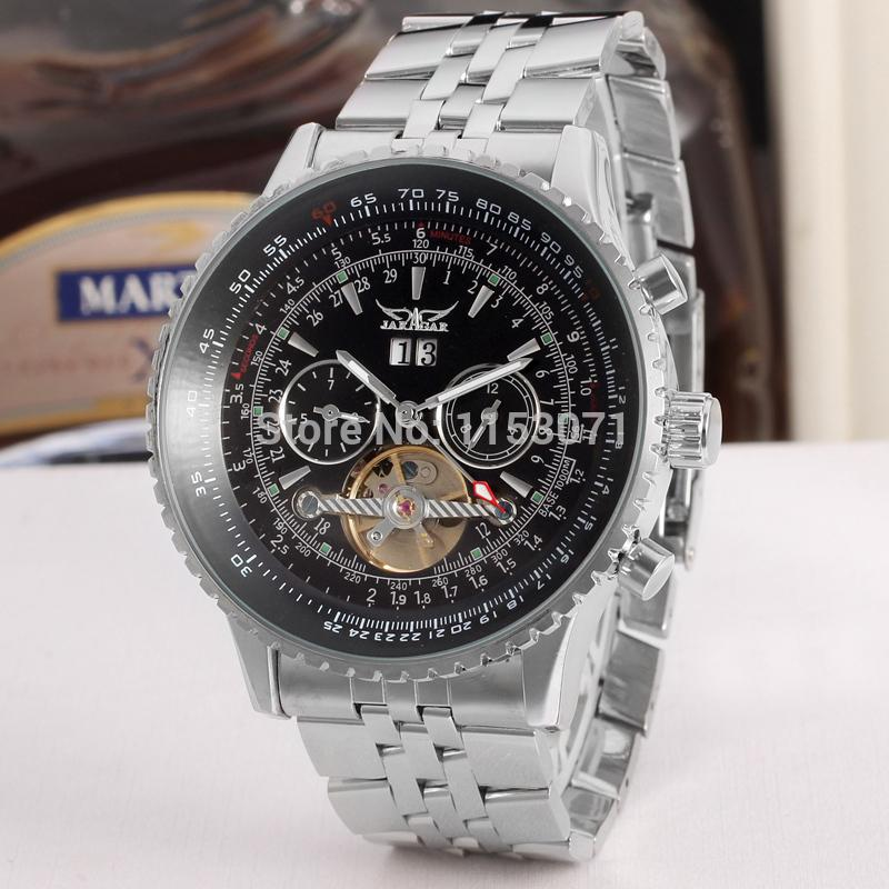 bd60df11dae JARAGAR JAG034M4S2 Men's Watch Luxury Automatic Self-wind Tourbillion  Stainless Steel Case Brass Band Wrist
