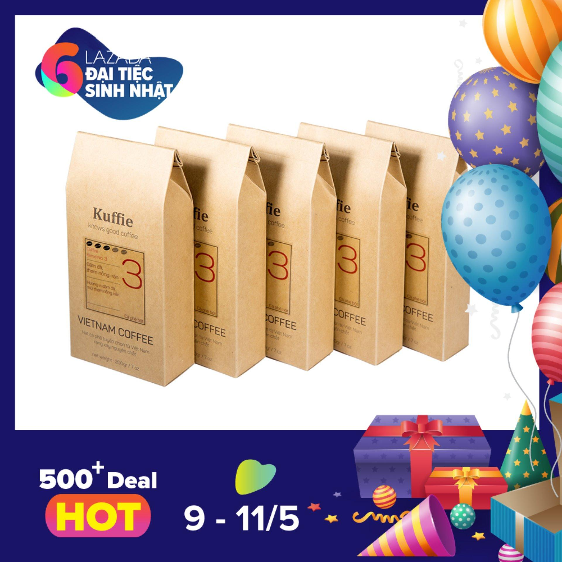 Giá Bán Bộ 5 Goi Ca Phe Bột Kuffie Số 3 100 Pure Coffee Robusta Arabica X 200G Mới Rẻ