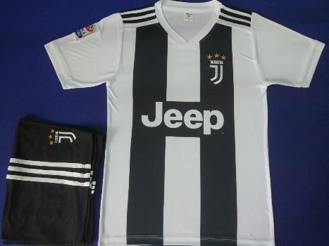 Quần áo đá banh tay ngắn - tay dài CLB Juventus sọc sân nhà 2018-2019