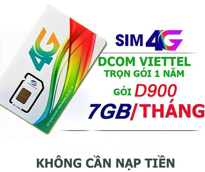 Hình ảnh (HÀNG KHỦNG) SIM 4G VIETTEL D900 MIỄN PHÍ 84GB/NĂM, 7G/THÁNG