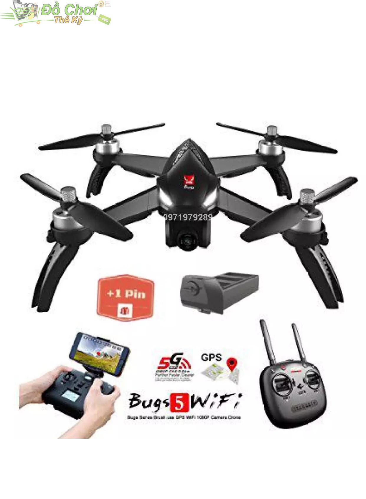 Hình ảnh ( Bộ Sản Phẩm 2 Pin ) Máy bay MJX bugs 5W – GPS, follow me , truyền hình ảnh về điện thoại, camera chỉnh góc xoay