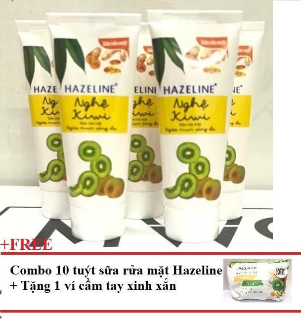 Hình ảnh Combo 10 tuýp sửa rửa mặt sáng da hazeline kiwi nghệ 15g+ Tặng 1 Túi đựng mỹ phẩm xinh xắn