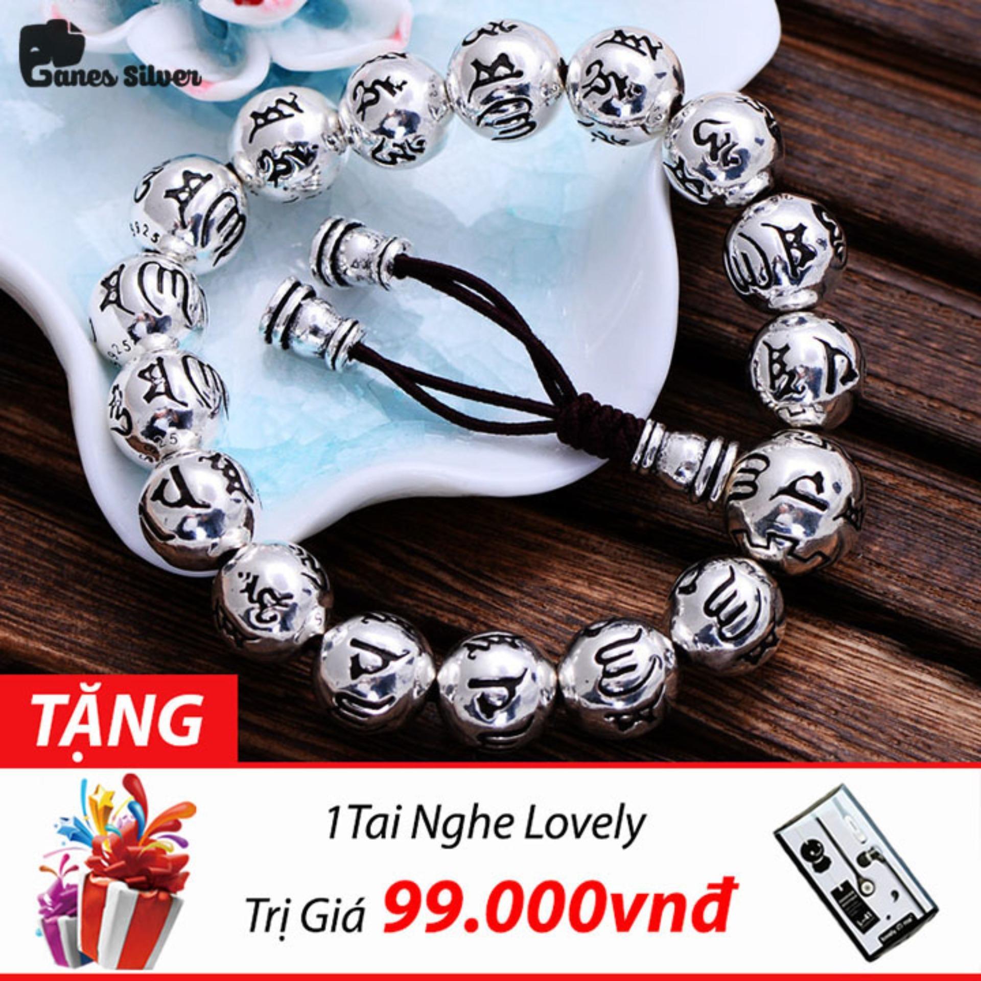 Giá Bán Lắc Tay Nam Bi Khắc Lục Tự Đại Minh Chan Ngon 12Mm Chất Liệu Bạc Thai Cao Cấp Thương Hiệu Ganes Silver Bạc Mới