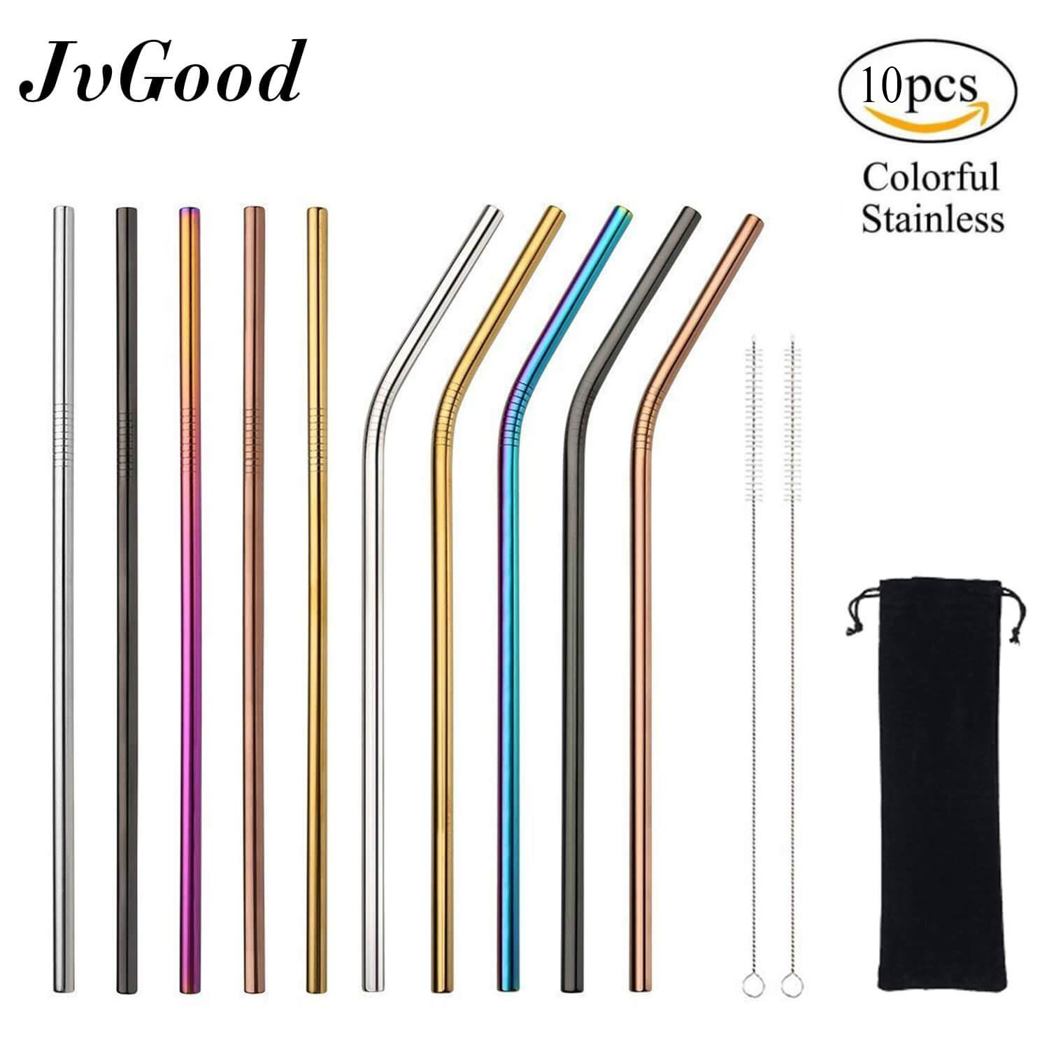 Jvgood 10 Pcs Mental Straws Stainless Steel Straws Reusable Long Drinking Straws With 2 Free Cleaning Brushes By Jvgood.