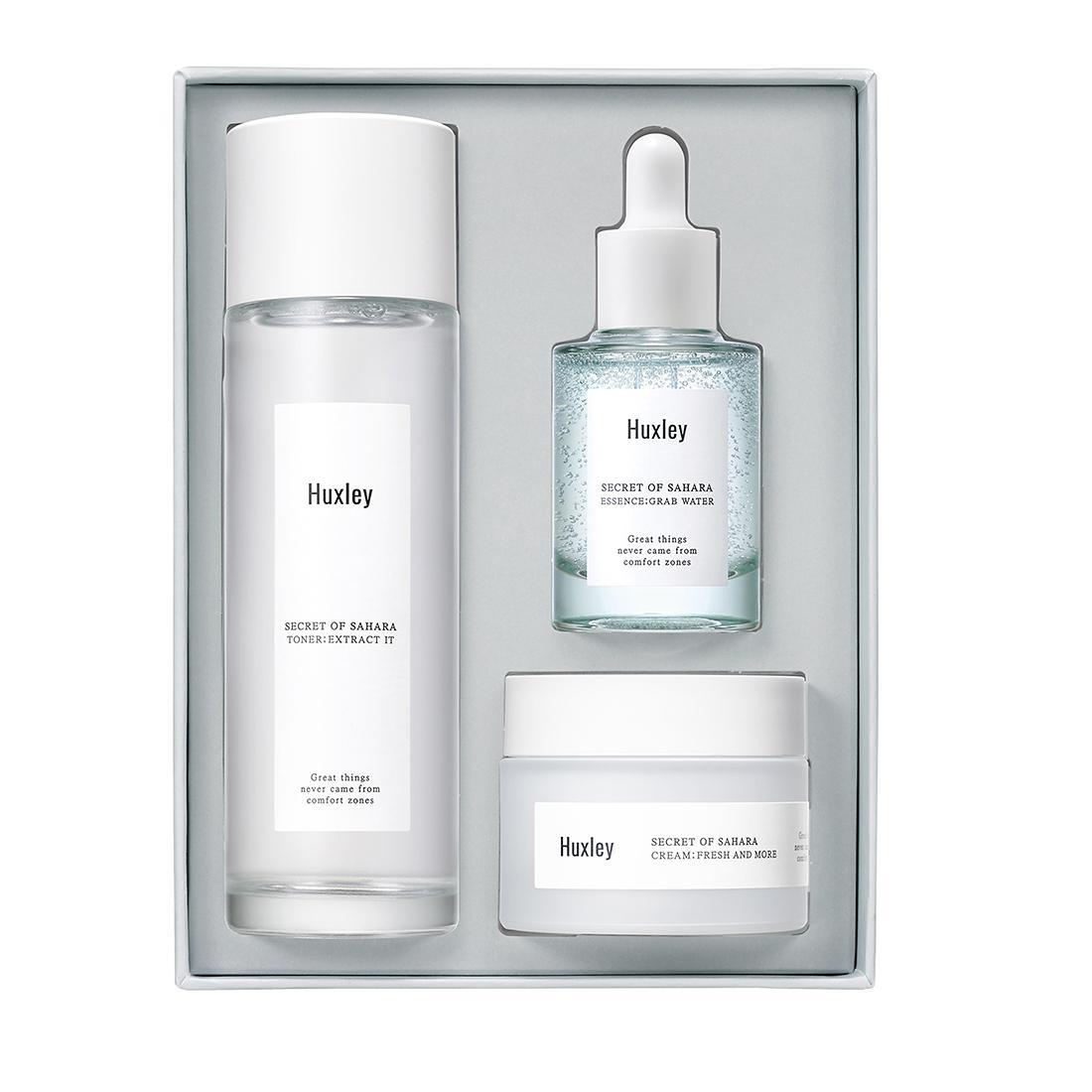 Hình ảnh Bộ sản phẩm dưỡng ẩm phục hồi da cao cấp Huxley - Hydration Care Set (Toner Extract It, Essecen Grap Water, Cream Fresh and More)
