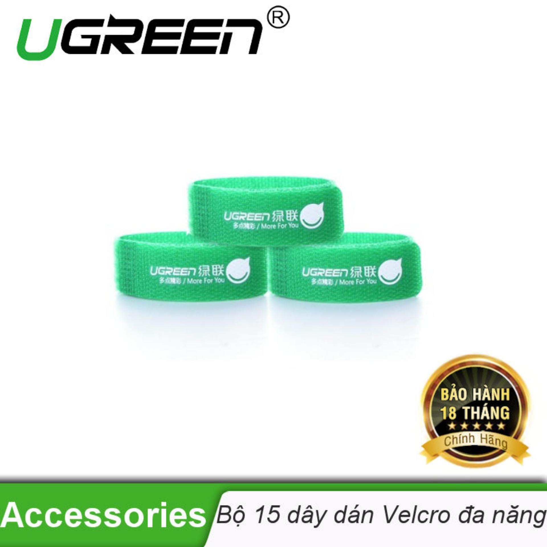 Hình ảnh 2 túi/1 bộ (6chiếc) - Dây dán Velcro tiện dụng dài 17,8cm UGREEN 20314 (màu xanh lá cây) - Hãng phân phối chính thức