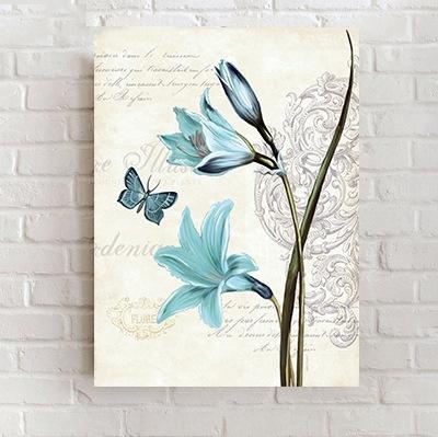 Bộ 3 tranh treo tường Hoa xanh 5