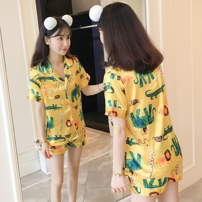 76b068c25221 Viscose Pajamas women Summer Cute Elephant Silk Short Sleeve Two Piece Set  Korean Style Fresh Students