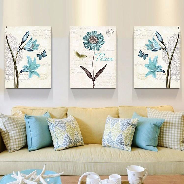 Bộ 3 tranh treo tường Hoa xanh 3