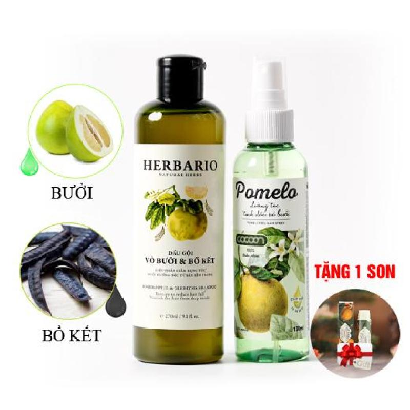 Bộ trị rụng tóc dầu gội vỏ bưởi bồ kết Herbario và tinh dầu bưởi Pomelo tặng 1 son dưỡng môi cao cấp