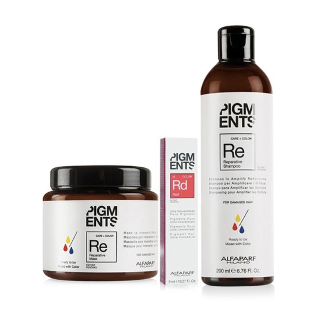 Hình ảnh Bộ dầu gội, mặt nạ và tinh chất dưỡng màu tóc nhuộm đỏ cho tóc hư tổn Alfaparf Milano Pigment Reparative Red .6