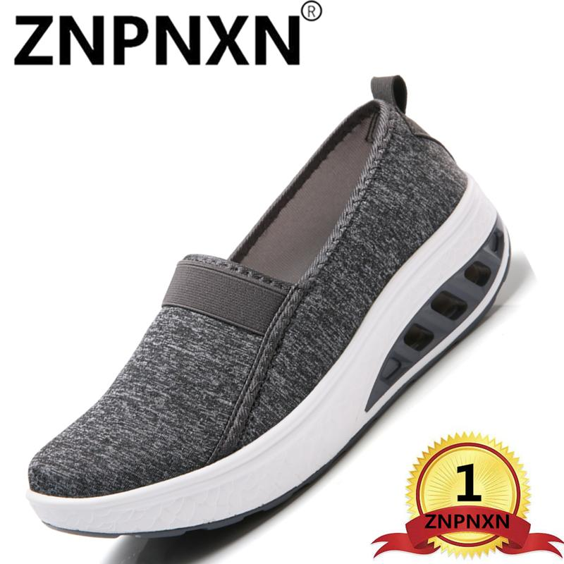 fcd8a5fa01 ZNPNXN Fashion Rocker Sole Swing Platform Sport Shoes For Women Closed-Toe  Wedges Athletic Casual
