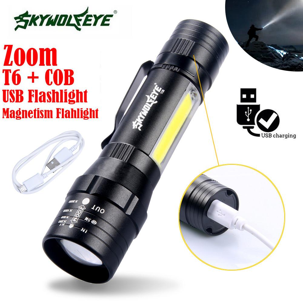 Sky Wolf Eye T6+COB 4-Modes Usb Rechargeable LED Flashlight Torch Bright