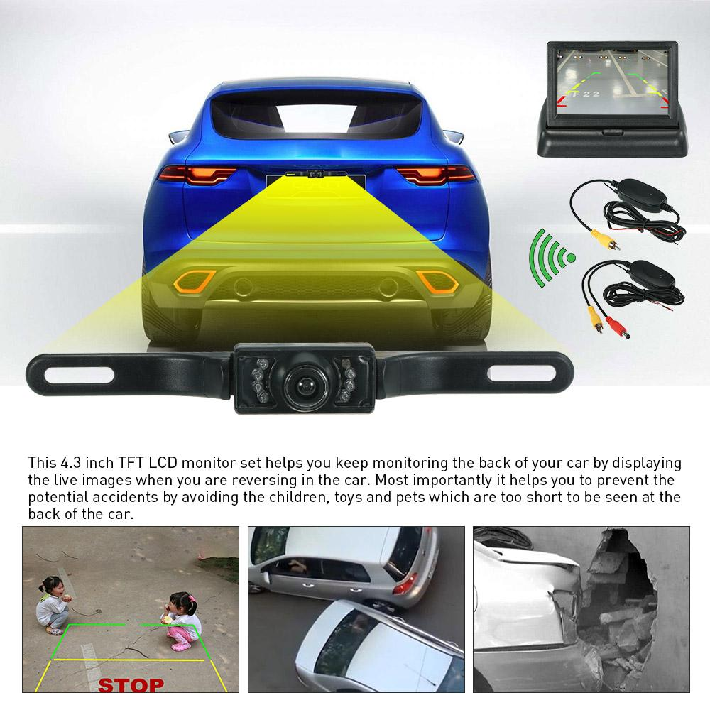 43 Foldable Car Tft Lcd Monitor Wireless Backup Camera With Rear Pillow Color Wiring Diagram Reverse Parking System Set Inch Fodable 24ghz Transmitter Receiver And License Plate View