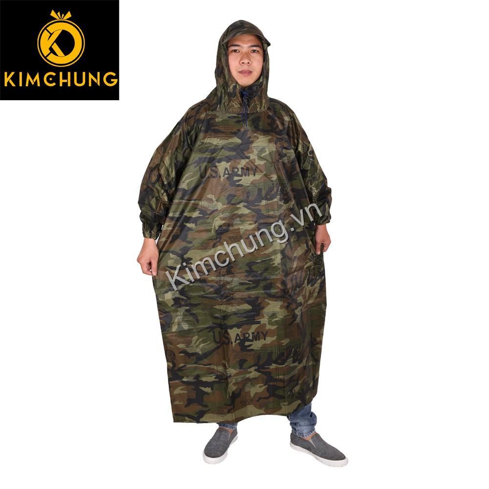 Áo mưa không xẻ tà, vải dù cao cấp không thấm nước size 3XL (màu Rằn Ri)