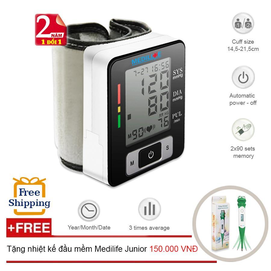 Hình ảnh Máy Đo Huyết Áp Cổ Tay Tự Động Công nghệ Kỹ Thuật Số Medilife MBP - U60C + Tặng nhiệt kế điện tử đầu mềm Medilife Junior (OEM)