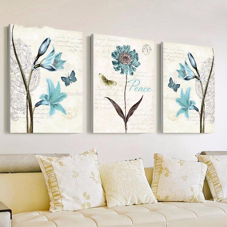 Bộ 3 tranh treo tường Hoa xanh 1