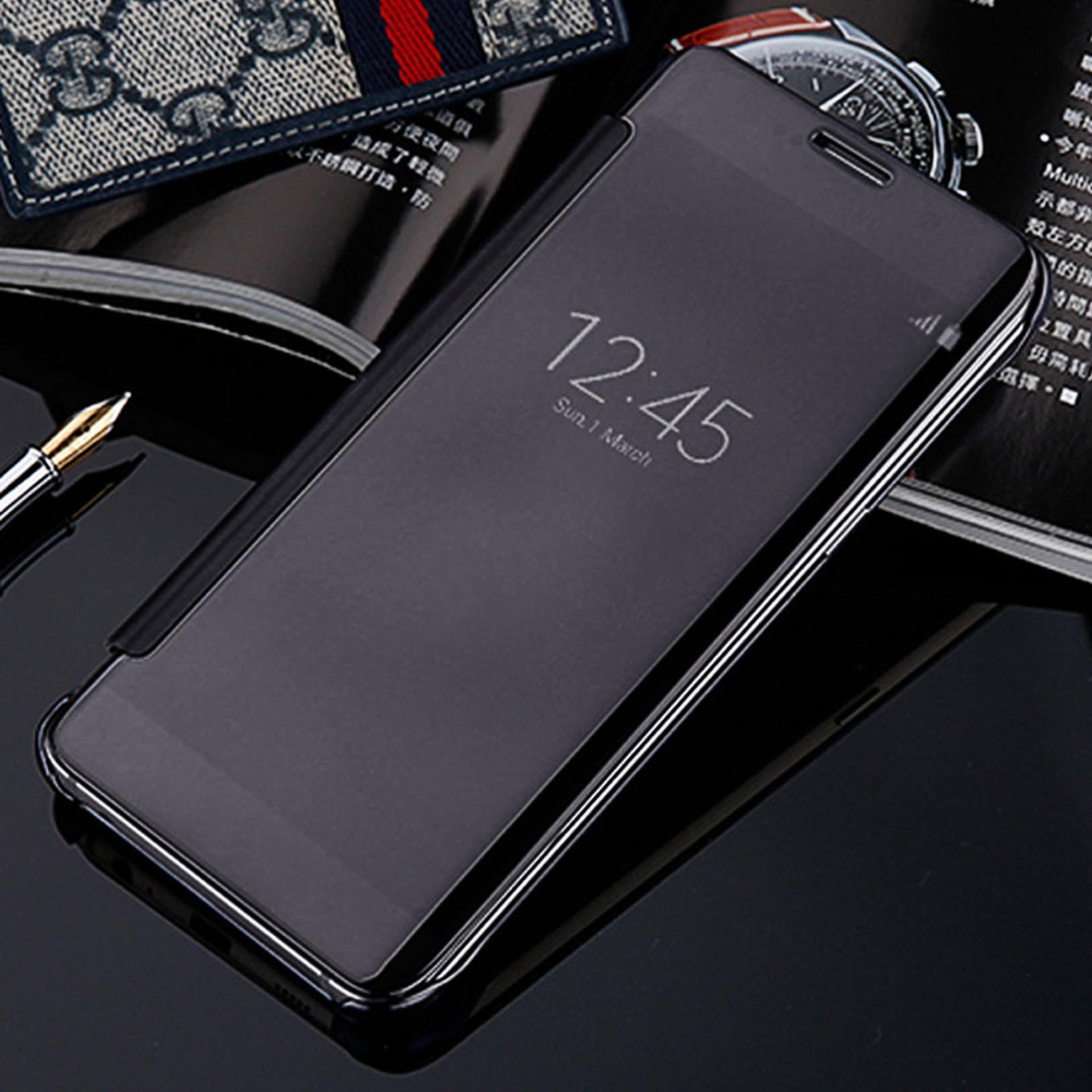 Hình ảnh Bảo vệ MÁY TÍNH Xi Mạ Thông Minh Gương Clear View Flip Điện Thoại Ốp dành cho Samsung Galaxy Note 7 Màu Đen