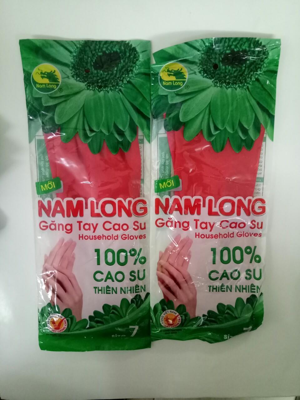 Sỉ 10 đôi Gang tay Cao su Nam Long màu đỏ size M_BHLĐ Thái Dương