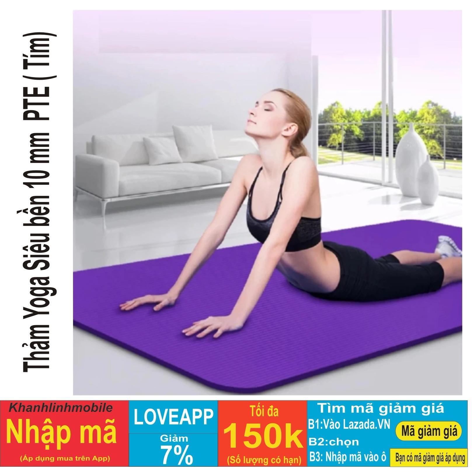 Bán Thảm Tập Yoga Sieu Bền Loại Day 10Mm Tpe Tim Co Tui Đựng Led