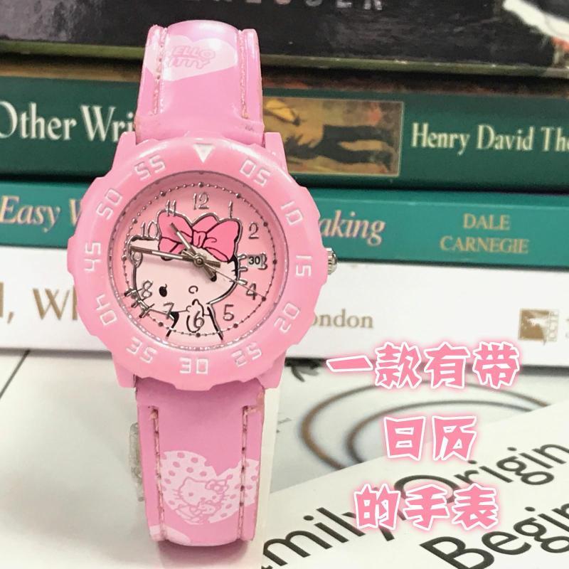 Hello kitty Hello Kitty KT Cat Calendar Girl Girl Waterproof Belt Cartoon Child Watch Malaysia