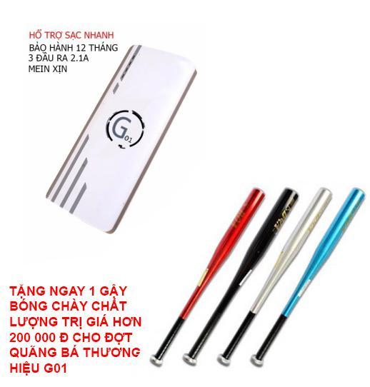 Hình ảnh Pin sạc dự phòng G01 Litinum 20000MAH (Trắng) - hổ trợ sạc nhanh +Tặng ngay 1 GẬY BÓNG CHÀY DÀI