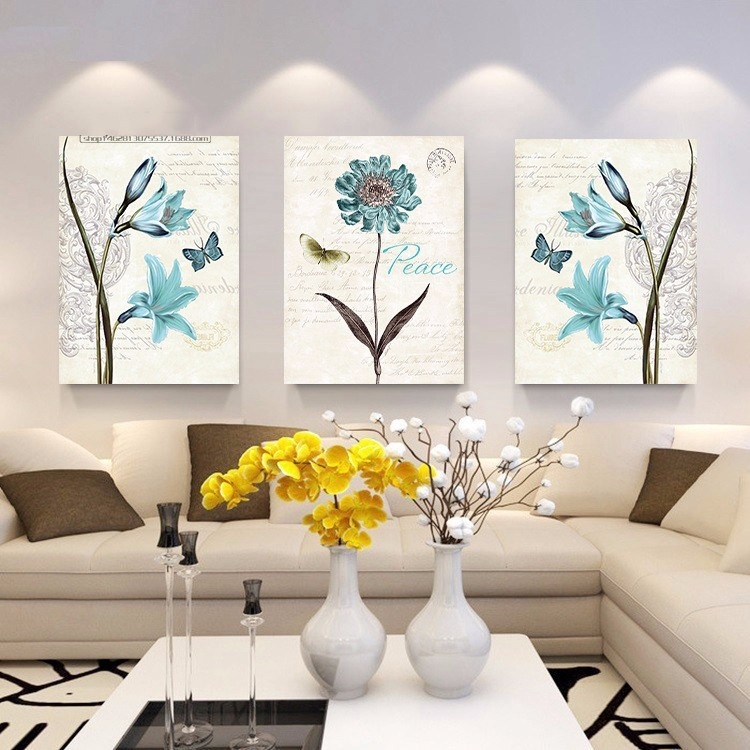 Bộ 3 tranh treo tường Hoa xanh 2