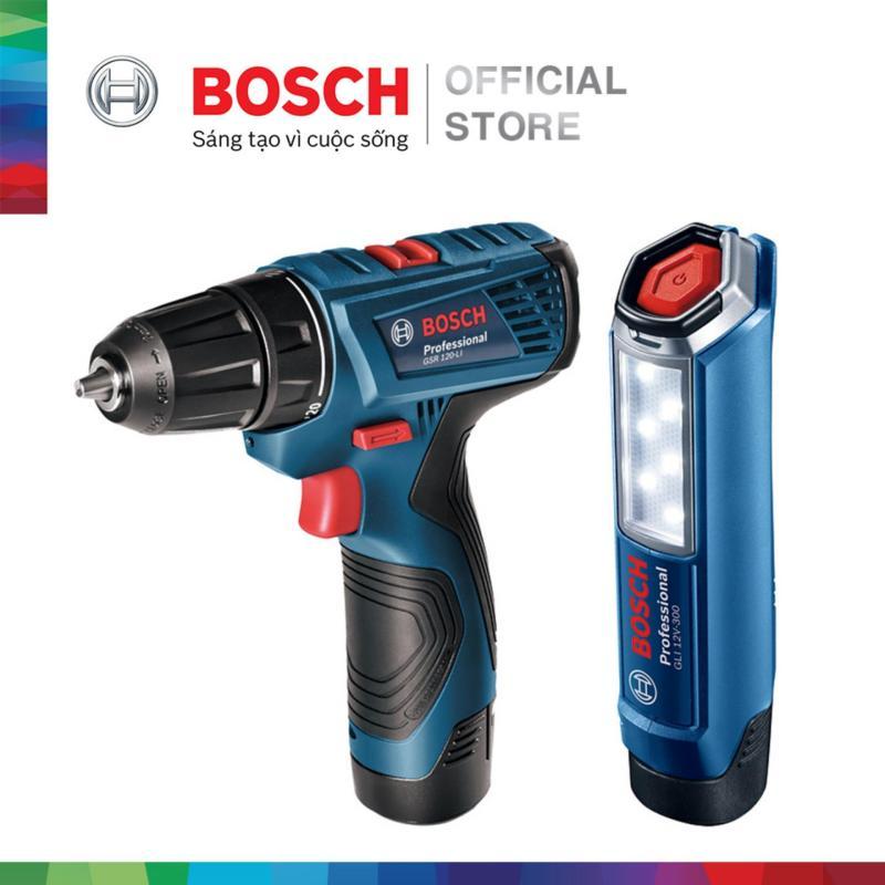 Bộ combo Máy khoan vặn vít dùng pin Bosch GSR 120-LI - Tặng Đèn pin GLI 120-LI (2 pin 1.5 Ah + 1 sạc)