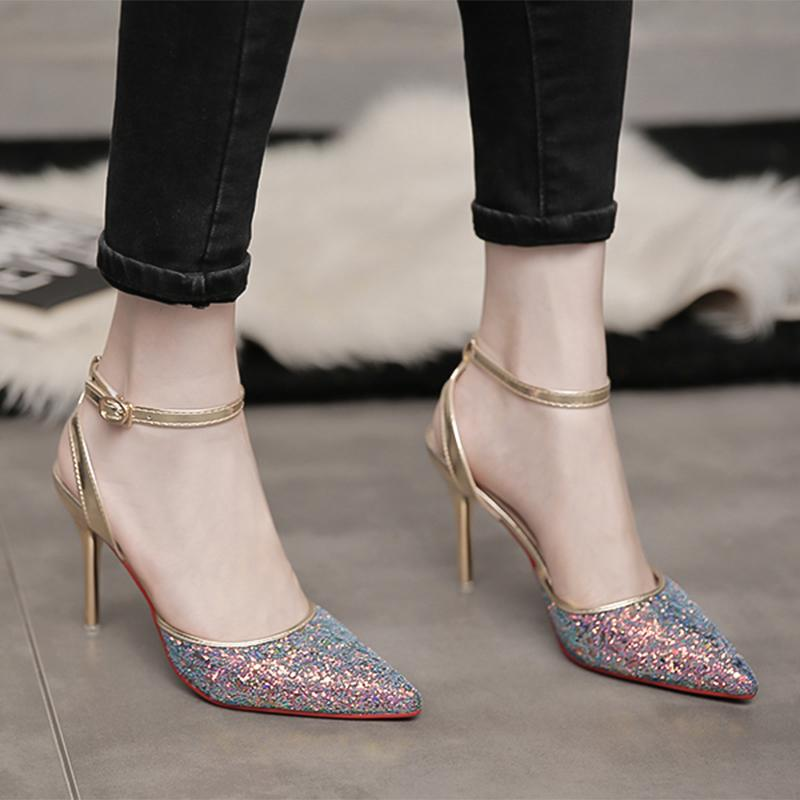 d7e0c63ef4615 NV Chun 2019 New Style Silver Pointed Shoes Sequin Shallow Mouth A-line  Belted Closed