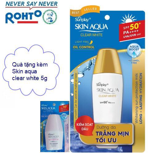 Sunplay chống nắng dưỡng da, tặng kèm chống nắng skin aqua 5g chính hãng