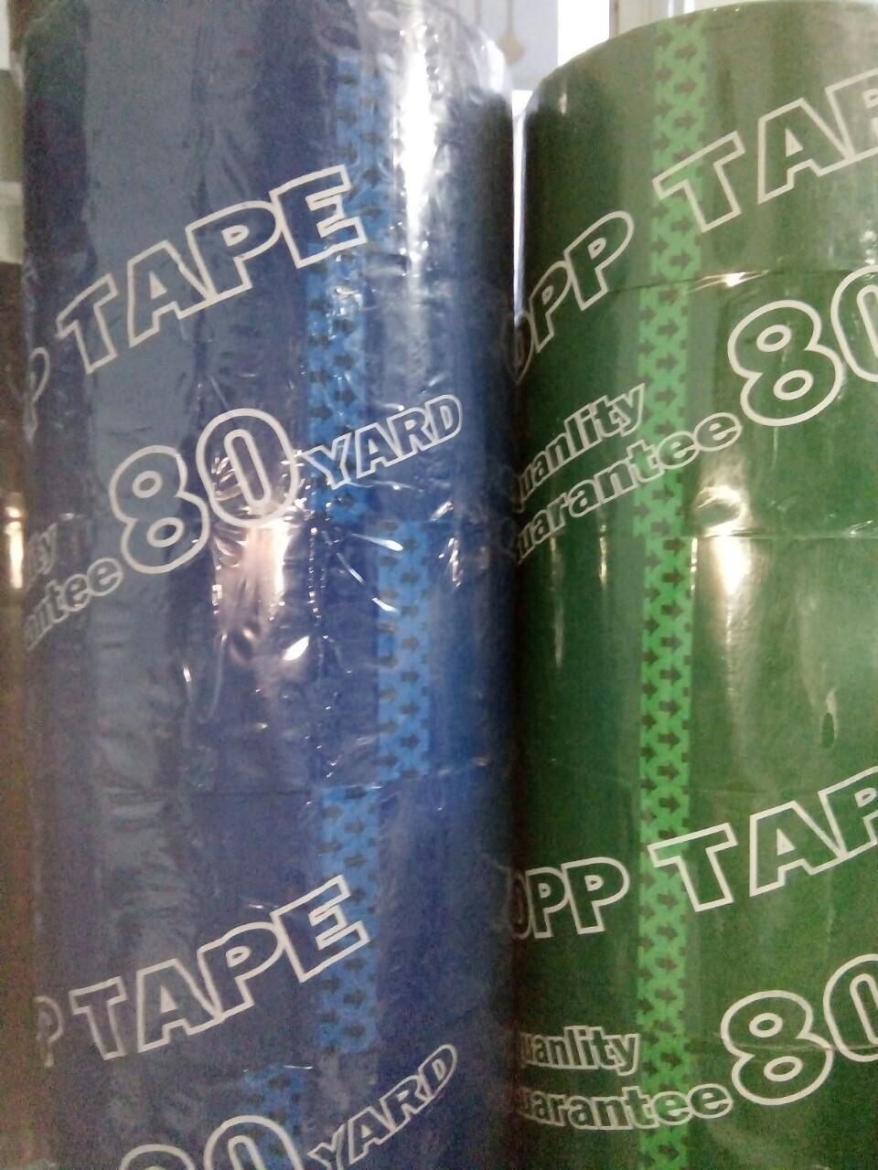 Mua 06 cuộn/cây 80year  băng keo dán  opp tape gáy 5cm giấy màu xanh giá 60.000đồng/ cây