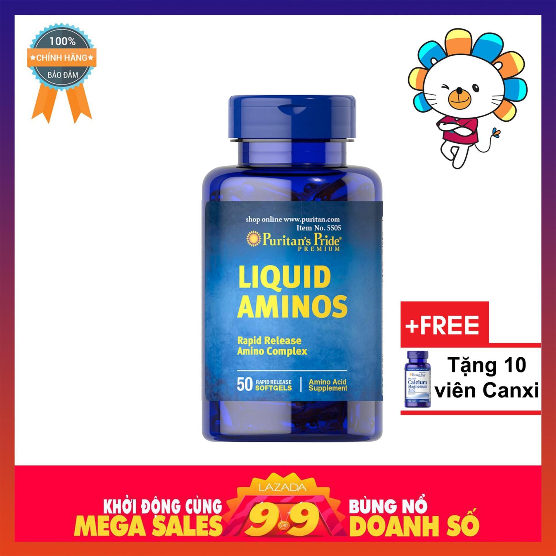 Viên uống kích thích ăn ngon, hỗ trợ tăng cơ, tăng cân Vitamin Mỹ (chứa L-Lysine, L-Arginine, L-Cysteine...) Puritans Pride Liquid Aminos 50 viên. nhập khẩu