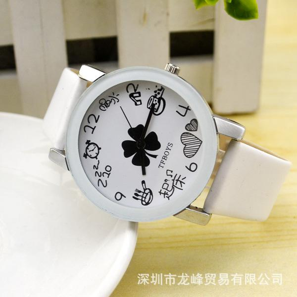 New fashion TFBOYS Star Watch TF family four leaf clover help wholesale White Malaysia